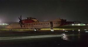 Penampakan Pesawat TransNusa Setelah Bertabrakan dengan Batik Air