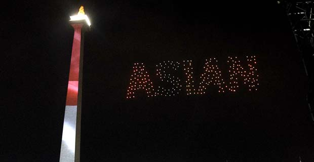 Sambut Asian Games, Pertunjukan Drone Light Show Diadakan di Monas